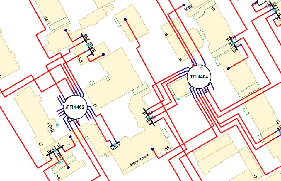 Фрагмент представления кабельной сети низкого напряжения на электронной карте